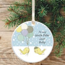 Uncle Ceramic Keepsake Christmas Tree Decoration - Birds and Balloons Design